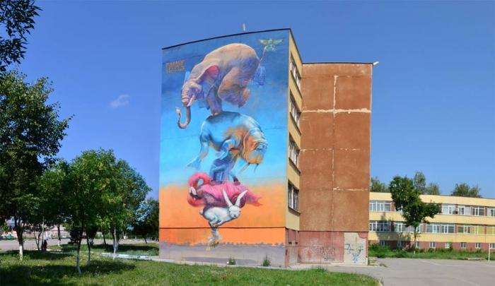 Graffiti-art-team-140-Ideas-balance-a-rabbit-flamingo-chameleon-walrus-and-an-elephant-on-a-bee