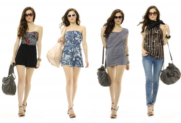 young woman with fashion sunglasses and handbag, collage